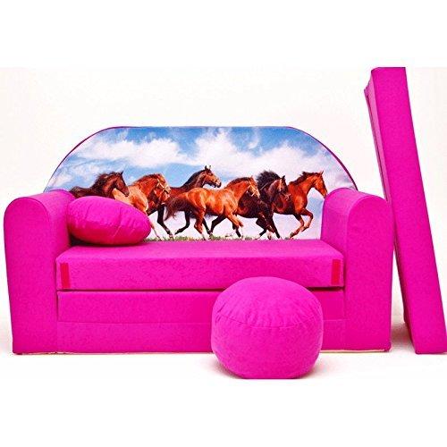 H29 Minicouch Kindersofa Baby Sofa Set Sitzkissen Matratze (H29 rosa Pferde) scalesport