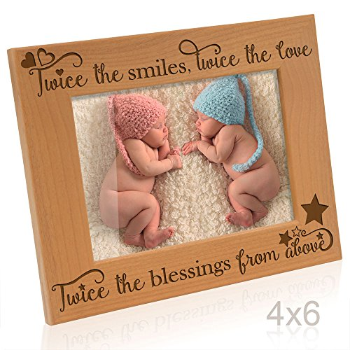Kate Posh Twice the Smiles, Twice the Love, Twice the Blessings from above - Engraved Natural Wood Picture Frame - Twins photo frame, Twins gifts for babies, Twins gifts for mom (4x6-Horizontal)