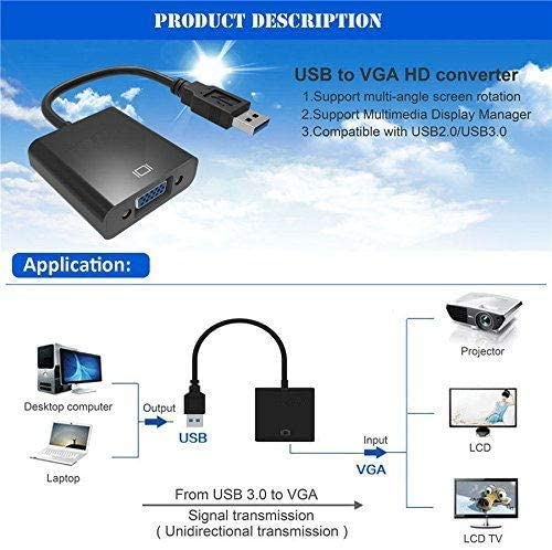 HDTV USB to VGA Adapter,Updated USB 3.0 to VGA Adapter Multi-Display Video Converter Compatible with PC Laptop Windows 7//8//8.1//10,Desktop Laptop Monitor Projector PC