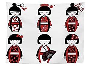 vipsung Girly Decor Tablecloth Unique Asian Geisha Dolls in Folkloric Costumes Outfits and Hair Sticks Kimono Art Image Rectangular Table Cover for Dining Room Kitchen Black Red