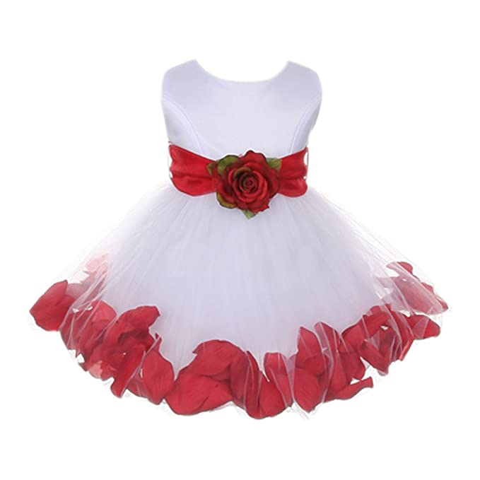 da2005e578 Image Unavailable. Image not available for. Color  Baby Girls White Red Floral  Petals Organza Sash Flower Girl Dress 24M