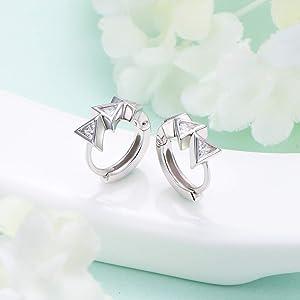 DAOCHONG S925 Sterling Silver Huggie Hoop Earrings for Women Teen Girls Birthday Clip on Ear Jewelry Gifts