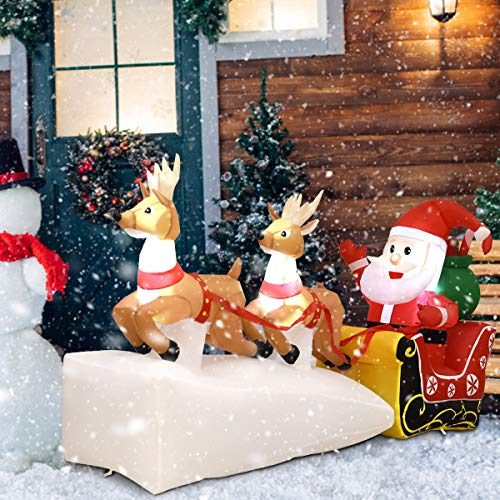Tangkula 8 Ft Christmas Inflatable Santa Claus on Sleigh with 2 Reindeers Self Inflating Electric Blow Up Lighted Interior with Fan and Anchor Ropes, Indoor Outdoor Garden Yard Family Prop Decoration