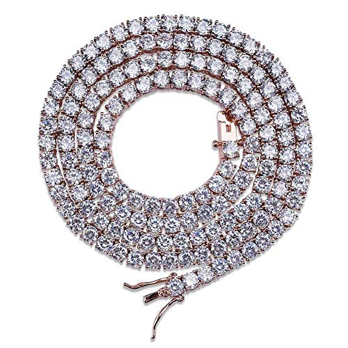JINAO 18K Gold Plated 1 Row 4MM Diamond Iced Out Chain Macro Pave CZ Hip Hop Tennis Necklace (Rose Gold 18'') - Pave Rose Gold Necklace