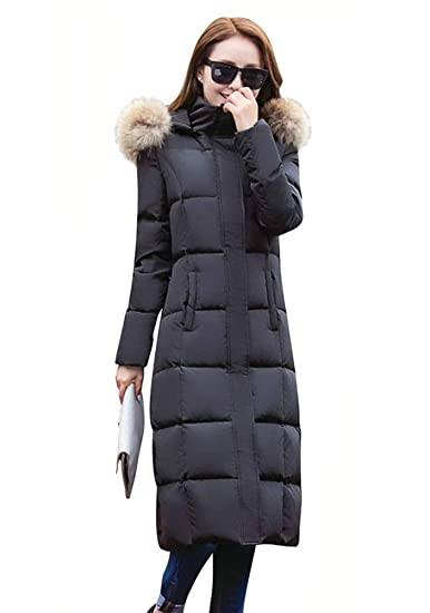 deb17cfa9 ELFJOY Women's Long Down Coat Thickened Zipper Warm Puffer Jacket with Fur  Hood for Winter