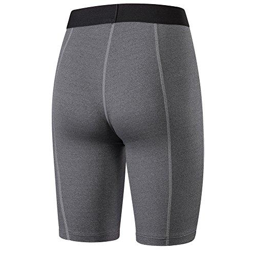 Bmeigo Mujer Yoga Workout Quick Dry Cropped Pantalones de correr Capri Tights con función de secado rápido Grey