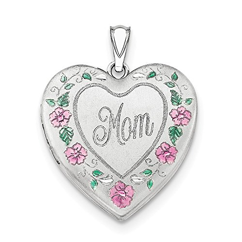 Sterling Silver Rhodium-plated 24mm Enameled, D/C Mom Heart -