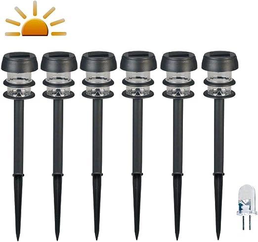 Luxform 6x Balizas Solares LED Jardín Lagos Negra Lámpara Luz Foco Iluminación: Amazon.es: Hogar