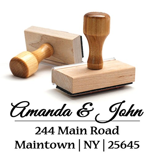 Wood Stamper, Custom Personalized Wooden Handle Return Address Stamp - Perfect Family, Business, Real Estate, Housewarming, Wedding, Teacher Client, or Christmas Gift by Pixie Perfect Return Address Stamps