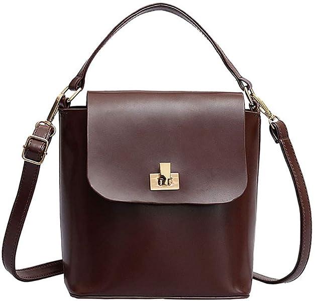 bdce133b0495 Rakkiss Women Messenger Bag Fashion Leather Lock Bucket Bag Retro ...