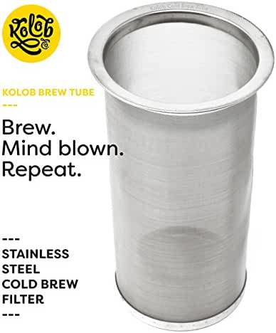 Kolob Brew Tube - Cold Brew Coffee Maker - Reusable Stainless Steel Filter for Brewing Professional Cold Brew Concentrate and Infused Tea at Home in a Mason Jar