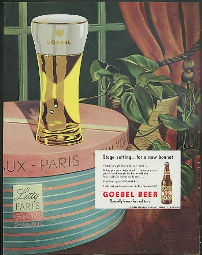Stage setting for a new bonnet Goebel Beer ad 1947 fancy French hatbox ()