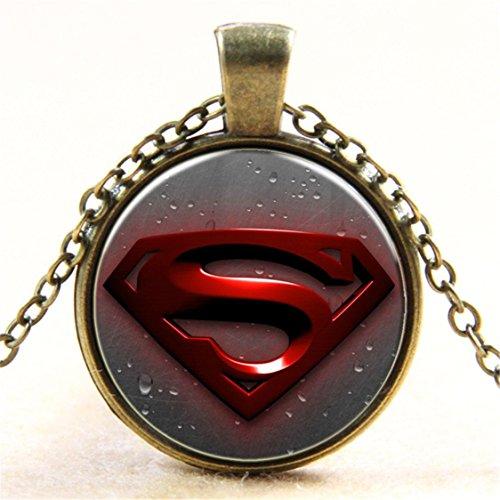 (Superman Necklace Pendant Glass Dome Art Pendant Charm Superman Necklace Jewelry Jewelry)