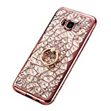 Galaxy S8 Plus Case Cover, GIZEE Luxury Sparkle Bling Crystal Clear 3D Diamond Ring Stand Soft TPU Protective Phone Shell for Samsung Galaxy S8 Plus (Rose Gold)