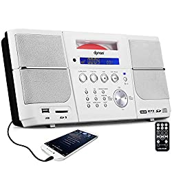 DPNAO Portable CD Player Boombox with FM Radio Clock Alarm USB SD White