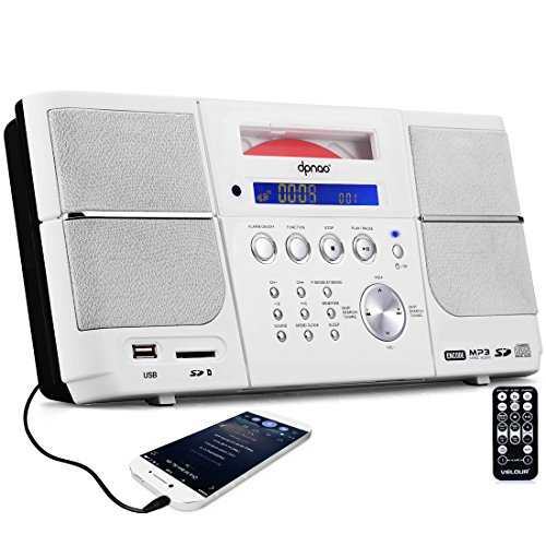 Portable White CD Player Boombox Compact Stereo with FM Radio Clock Alarm USB SD Aux-in Remote Headphone Jack for kids (Boombox Cd Player White)