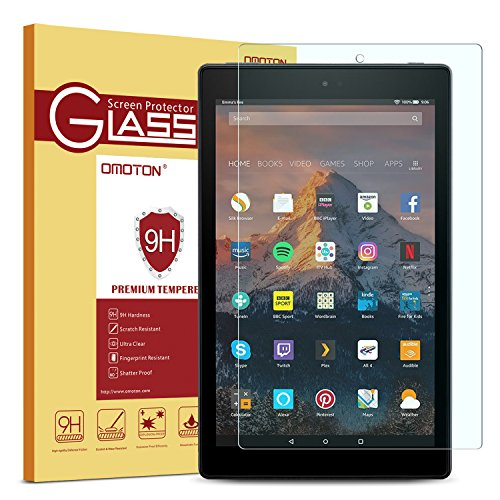 Fire HD 10 Screen Protector, OMOTON Tempered Glass Screen Protector for Fire HD 10 with [9H Hardness] [Crystal Clear] [Scratch Resist]