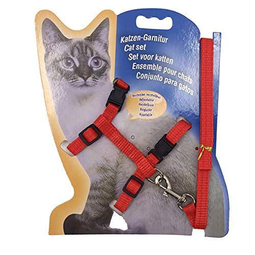 - Gizhome Cat Harness and Leash Adjustable Halter Harness Nylon Strap Belt Safety Rope Leads for Home Kitten - Red