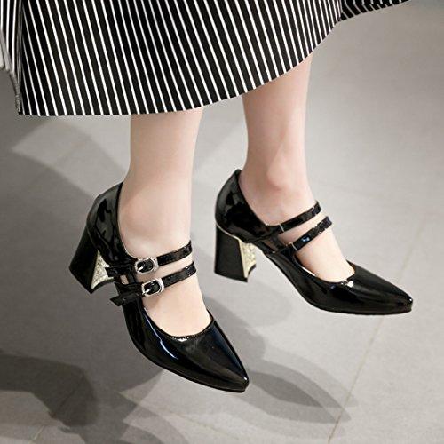 YE Damen Chunky High Heels Spitze Lack Leder Mary Jane Pumps mit Blockabsatz und Riemchen Schnalle 6cm Moderne Elegant Schuhe Schwarz