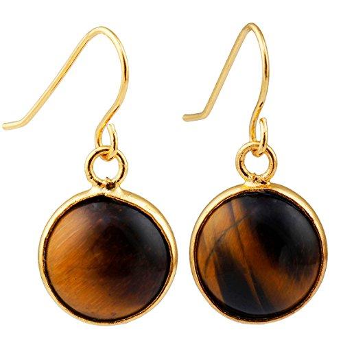 Tigers Round Crystal Earrings - SUNYIK Women's Tiger's Eye Stone Round Dangle Earrings for Women