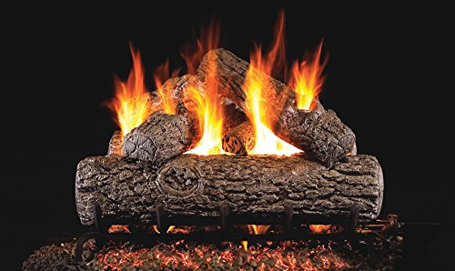 Real Fyre 30-inch Golden Oak Vented Gas Logs Bundled with G45 Burner Kit (Natural Gas) ()