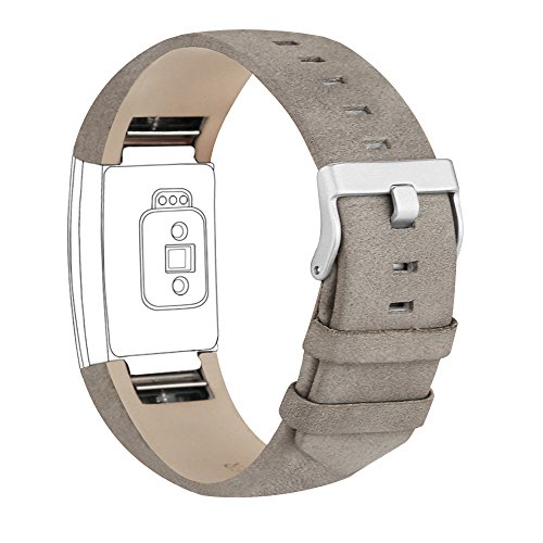 iGK Leather Replacement Bands Compatible for Fitbit Charge 2, Genuine Leather Wristbands Matte Grey