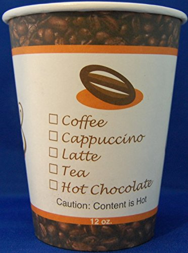 12 Oz Single Poly Paper Cups For Hot Drinks With Dome Lids 200 Qty