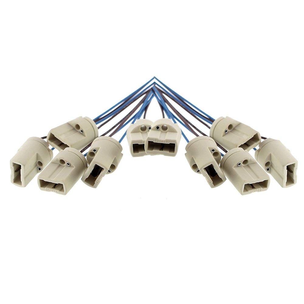 Offgridtec® Lot de 10douilles de lampeG9 Listé DVE et UL - avec câble d'alimentation isolé–Culot pour LED halogène CFL