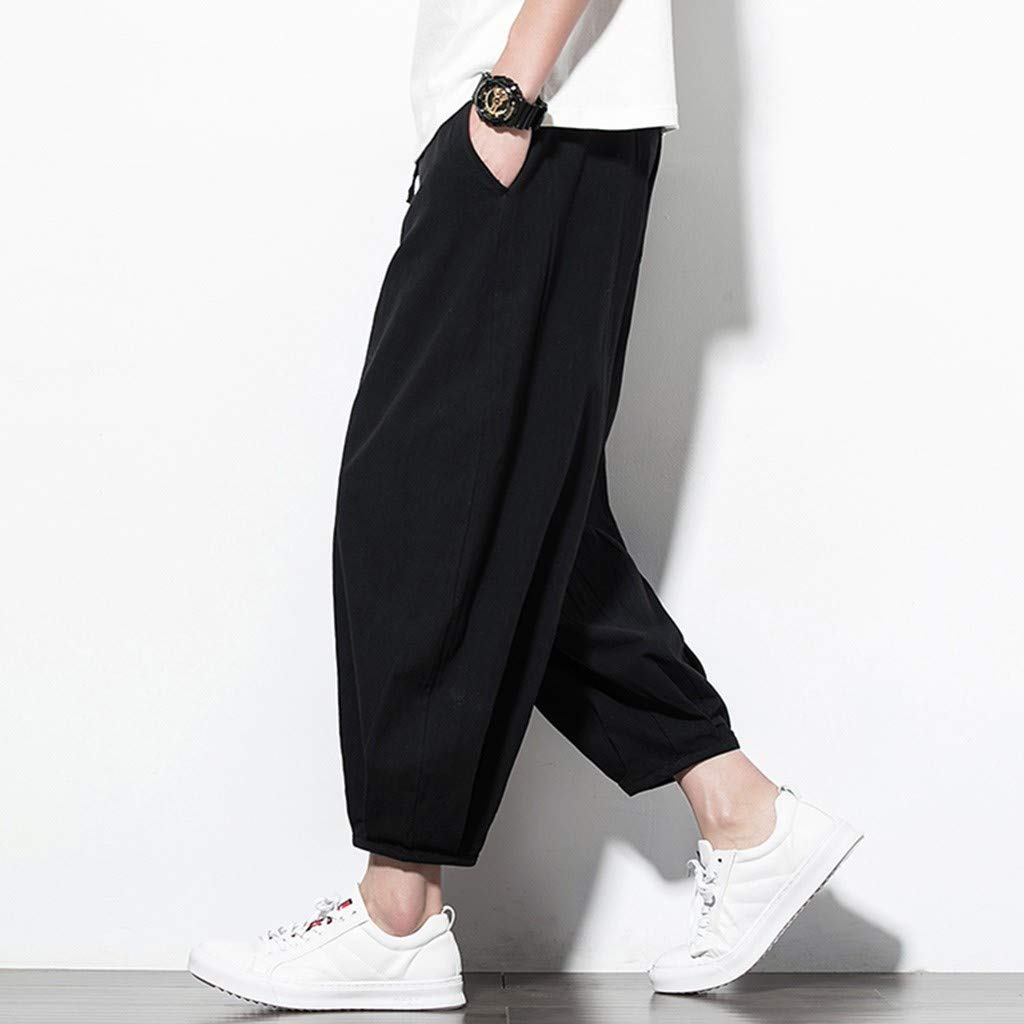 Sunyastor Men's Summer Harren's Baggy Wide-Legged Pants Ankle-Length Pants Pocket Drawstring Cotton Linen Loose Trousers Black by Sunyastor men pants (Image #2)
