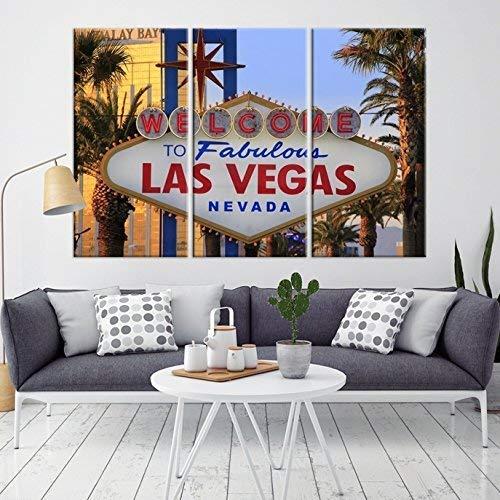 Las Vegas Sign Wall Art, Las Vegas Skyline Canvas Print, Las Vegas Canvas Print, Ready for Hang - Made in USA - Framed Large Wall Art Canvas