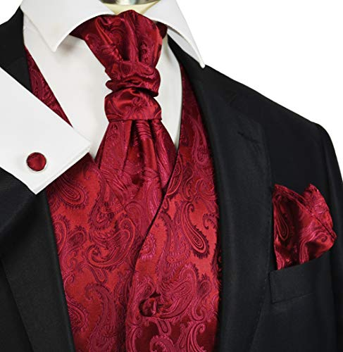 Wedding Vest Set Burgundy Paisley from Paul Malone