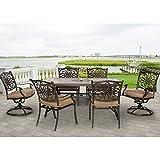 Hanover MONDN7PCSW-2 Monaco Rust-Free Aluminum Outdoor Patio Dining Set (7 Piece), Tan