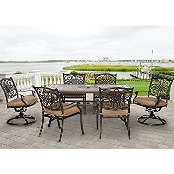 Hanover MONDN7PCSW 2 Monaco 7 Piece Rust Free Aluminum Outdoor Patio Dining  Set With 4 Dining Chairs, 2 Swivel Chairs, Natural Oat Tan Cushions And  Tile Top ...