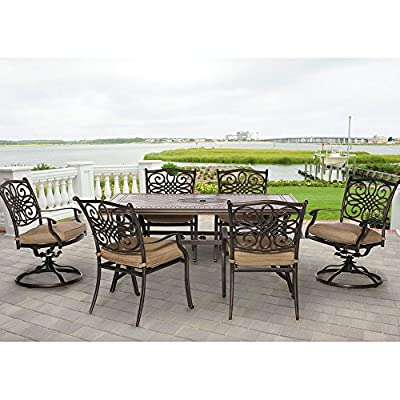 Hanover MONDN7PCSW-2 Monaco 7-Piece Rust-Free Aluminum Patio Dining Set Outdoor Furniture, Tan - 7-Piece Dining Set from Hanover's Monaco Collection Set includes four outdoor dining chairs, two swivel chairs, and one tile-top dining table 68 x 40 in. table-top with hand-laid porcelain tiles - patio-furniture, dining-sets-patio-funiture, patio - 51Va7pimTlL. SS400  -