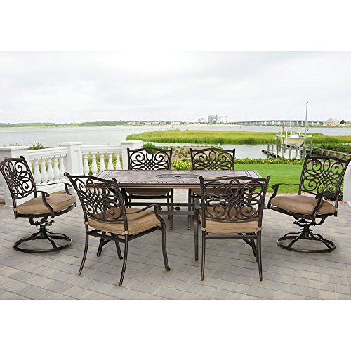 Hanover MONDN7PCSW-2 Monaco 7-Piece Rust-Free Aluminum Patio Dining Set Outdoor Furniture, Tan (Dining Patio Home Set Depot)
