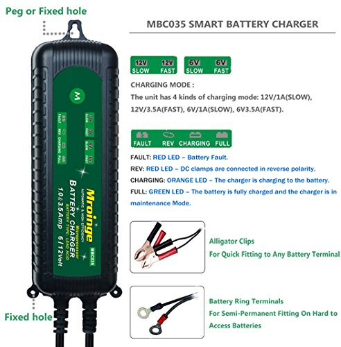 Mroinge MBC035 6V and 12V 3.5A Smart Vehicle Battery Charger/Maintainer for Cars, Motorcycles, RVs, TVs, Powersports, Boat and More Vehicle GEL WET AGM Batteries, With IP65 Waterproof by Mroinge (Image #1)