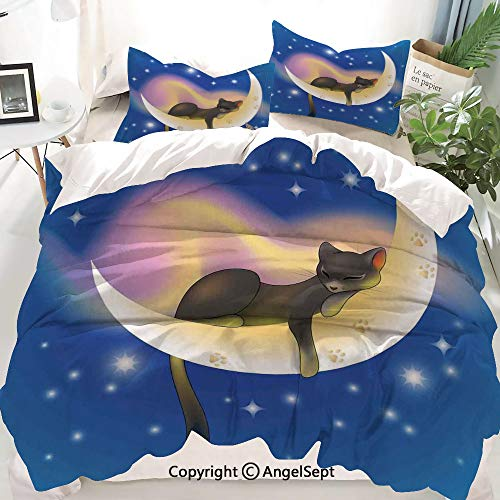 (Homenon Cat Decor Duvet Cover Set Twin Size,Cat Sleeping on Crescent Moon Stars Night Sweet Dreams Themed Kids Nursery Design,Decorative 3 Piece Bedding Set with 2 Pillow Shams)