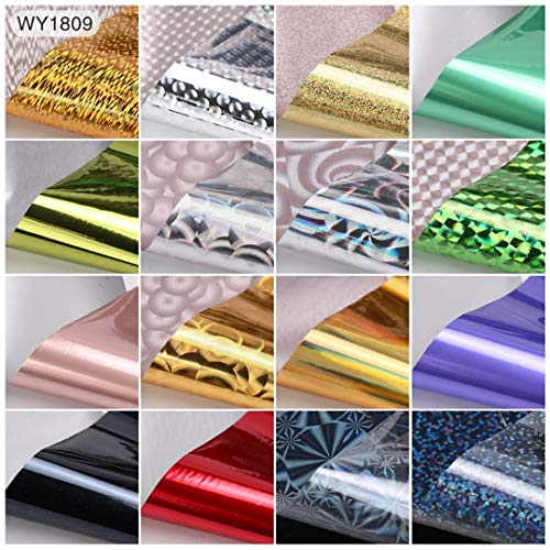 16Pcs 204Cm Mix Nail Art Transfer Foil Sticker Ongles Decoration Nail Art Decals Design For Nails Wraps DIY Set Folie WY1809 -