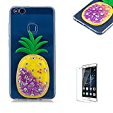 Funyye Liquid Quicksand Glitter Case for Huawei P10 Lite,Luxury 3D Diamond Pineapple Purple Bling Sparkle Flowing Stars Soft TPU Transparent Silicone Cover for Huawei P10 Lite,Ultra Thin Flexible Rubber Protective Case for Huawei P10 Lite + 1 x Free Screen Protector