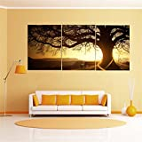 KINGSO SunSet, Big Tree Canvas Home Decor Abstract Artwork Painting Paint For Wall 3pcs 30x40cm