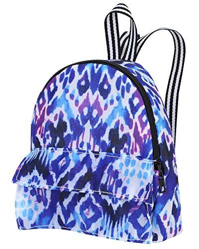 18 Inch Doll Backpack | Doll Sized Blue and Purple Print Nylon, Zipper Opening School Bag | Ikat Print Backpack (American Girl Doll Backpack)