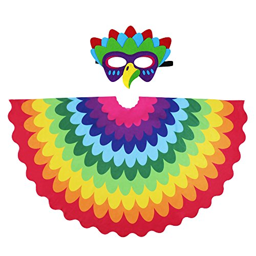 D.Q.Z Kids Bird Wings for Girl Boy Parrot Costume and Dress-Up Mask (Rainbow) for $<!--$15.99-->