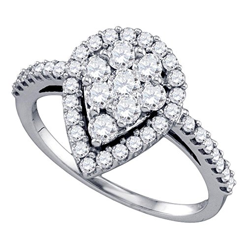 Stone Cluster Ring (10k White Gold Teardrop Diamond Promise Ring Anniversary Band Round Side Stones Cluster Set 1.0 ctw Size 7.5)