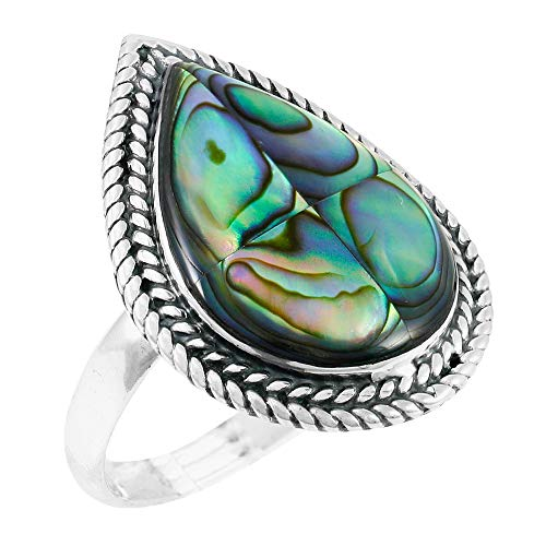 Abalone Ring Sterling Silver 925 Genuine Gemstones Size 6 to 11 (Abalone Shell) (10)