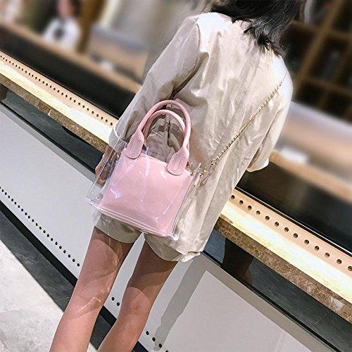 Plage de claire Sacs en Main Messager gelée Demiawaking Femmes Rose à Chaîne avec Mode PVC Bandoulière Décontractée Transparent Sacs Sac WYwggxRXZ