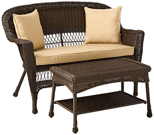 Jeco Wicker Patio Love Seat and Coffee Table Set with Tan Cushion, Espresso