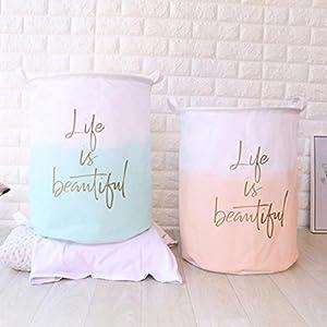 Ecosin Waterproof Canvas Storage Basket Laundry Sheets Clothes Laundry Basket Storage Basket Folding Storage Box 120