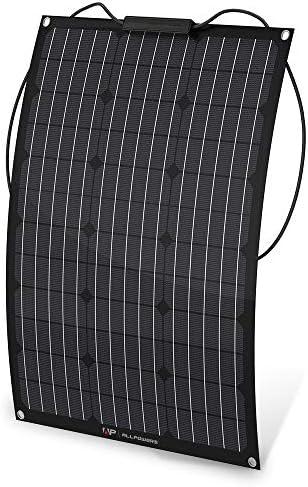 ALLPOWERS 50W 18V 12V Flexible Solar Panel Ladegerät (mit ETFE Schicht, MC4 Anschlüsse) Semi Biegbare Wasserfeste Monokristalline Solarmodule Kit für RV, Boot, Zelt, Auto, Anhänger