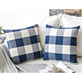 MIULEE Pack of 2 Decorative Classic Retro Checkers Plaids Throw Pillow Covers Cotton Linen Soft Soild Pillow Case Dark Blue Cushion Case for Sofa Bedroom Car 18 x 18 Inch 45 x 45 cm