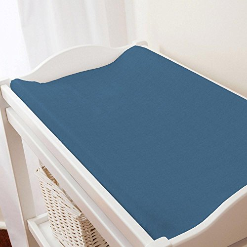 - Carousel Designs Solid Denim Blue Changing Pad Cover